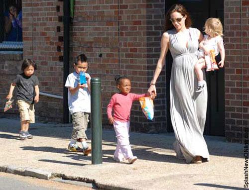 Angelina Jolie and kids Pax, Maddox, Zahara and Shiloh with Cheetos