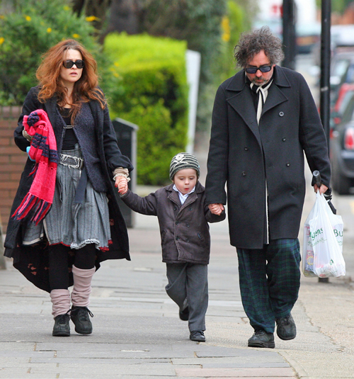 Helena Bonham Carter and Tim Burton and some normal looking kid