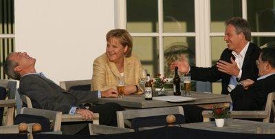 Bush Merkel and Blair at G8