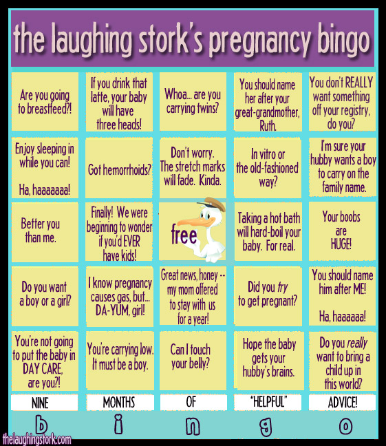 Pregnancy Bingo, fun for the whole family