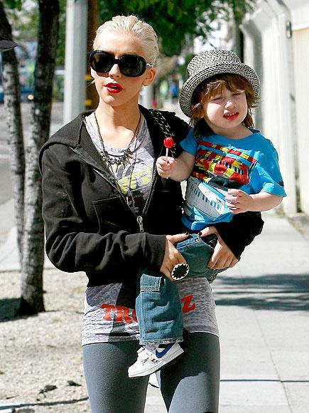 Christina Aguilera and son